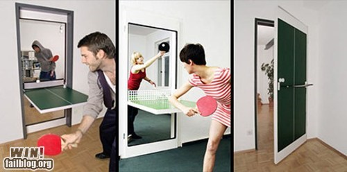 clever,design,door,ping pong,sports,table,transform