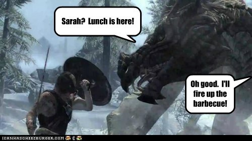 barbecue dovahkiin dragon eating fire lunch sarah Skyrim the elder scrolls