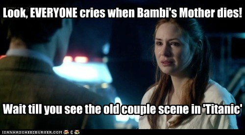 amy pond,bambi,cry,doctor who,karen gillan,Matt Smith,Sad,the doctor,titanic