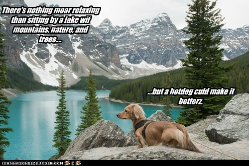 There's nothing moar relaxing than sitting by a lake wif mountains, nature, and trees.... ...but a hotdog culd make it betterz.