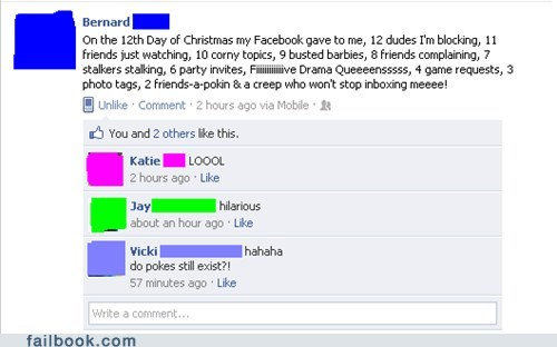 12 days christmas facebook failbook g rated holidays lyrics social media Song Parody win - 5567567872