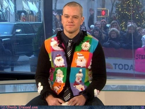 celeb,christmas sweater,fashion,g rated,matt damon,poorly dressed,today show