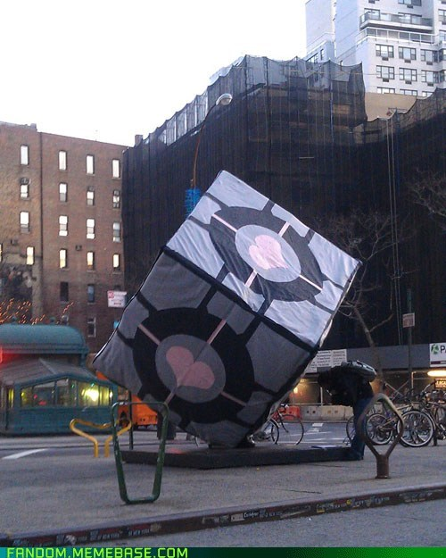 companion cube,Fan Art,IRL,new york,Portal,video games