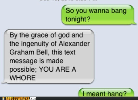 alexander graham bell auto correct AutocoWrecks bang hang mobile phone sexting texting typo - 5568072192