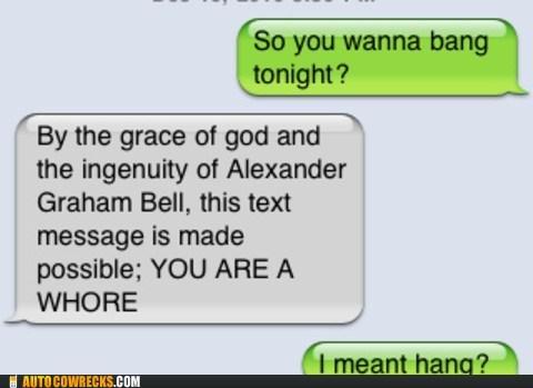 alexander graham bell auto correct AutocoWrecks bang hang mobile phone sexting texting typo - 5568072192