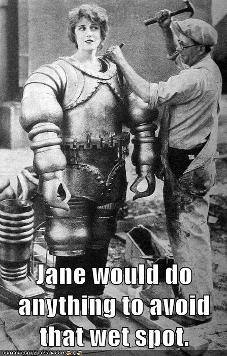 historic lols,metal suit,robot costume,vintage,wet spot