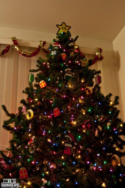 8 bit,christmas decorations,christmas tree,decorations,nerdgasm,nintendo