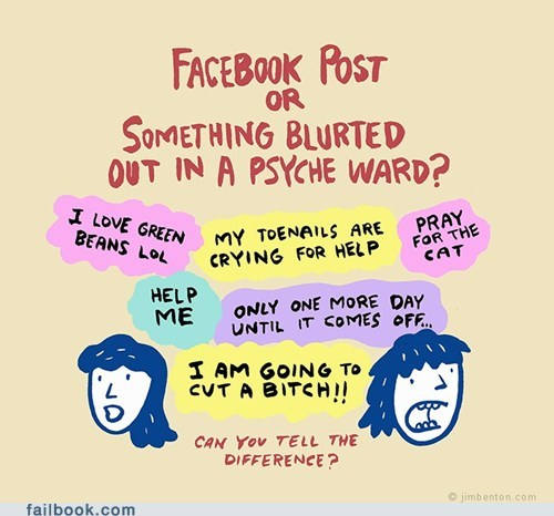 comic crazy facebook failbook g rated post psycho social media status - 5568489984