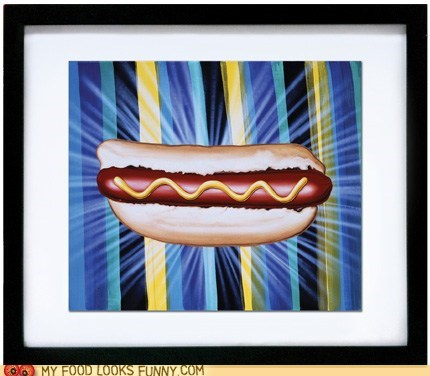 amazing,glorious,glowing,hot dog,painting