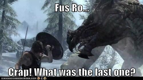 crap,dovahkiin,dragon,forgot,fus ro dah,line,Skyrim,the elder scrolls,video games