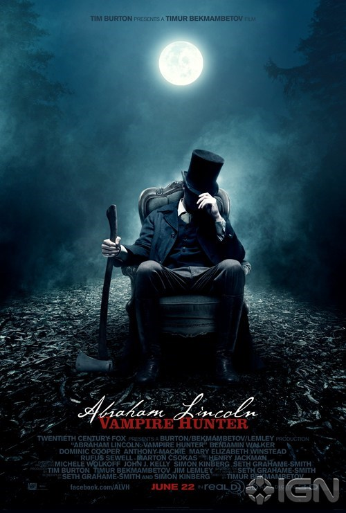 abraham-lincoln-vampire movie poster Seth Grahame-Smith tim burton Timur Bekmambetov