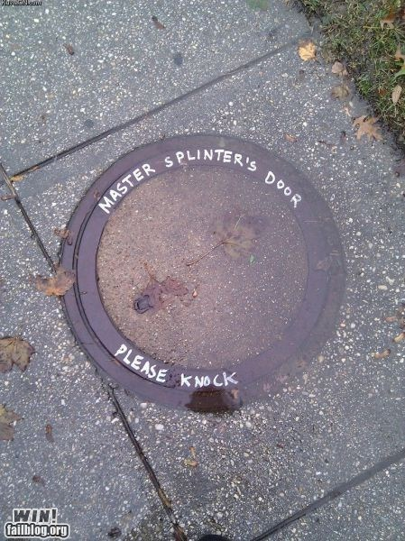 cartoons,clever,comic book,manhole,master splinter,nerdgasm,sewer,TMNT