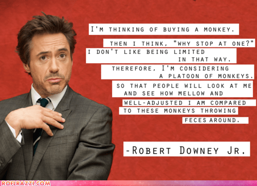 actors,Hall of Fame,monkeys,quotes,robert downey jr