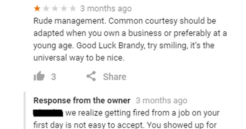 called out, burned, employee that got fired leaves a bad review