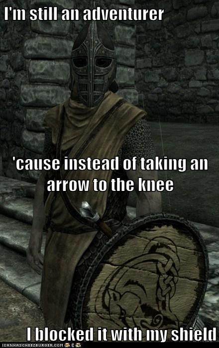 arrow to the knee,blocked,guard,shield,Skyrim,the elder scrolls,whiterun