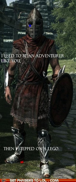arrow to the knee I used to be lego Skyrim stepped on a lego the elder scrolls - 5569434624
