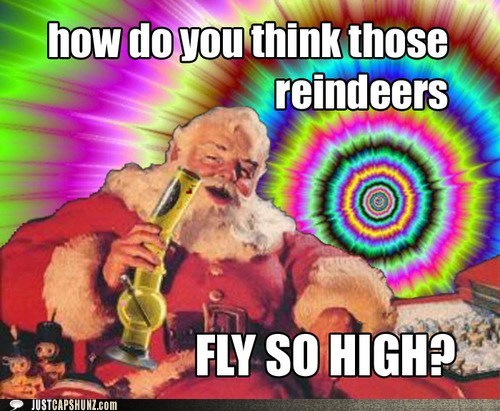 bong,chrsitmas,drugs,high,high flying,reindeer,santa,santa claus,trippin