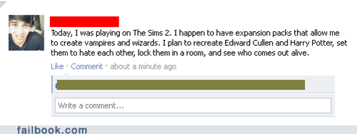 clever,edward,facebook,fight,g rated,Harry Potter,Sims,social media,twilight,video games