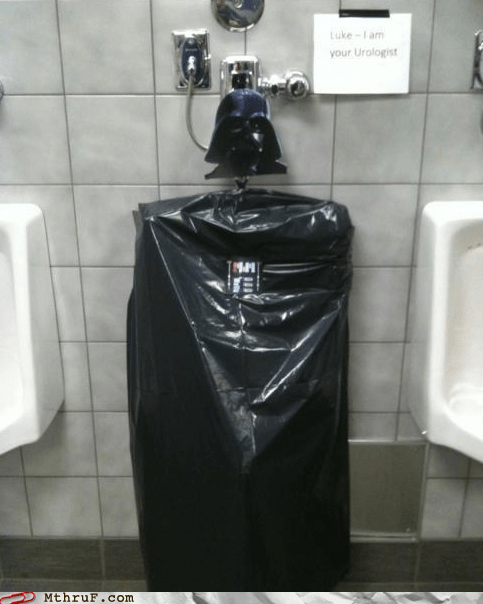 bathroom humor,darth vader,hacked urinal,out of order,star wars,toilets,urinal,urologist
