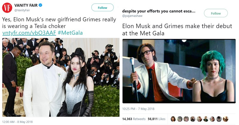Funny memes about Elon Musk and Grimes.