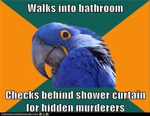 birds murderers paranoid Paranoid Parrot parrots scary shower shower curtain - 5570008832
