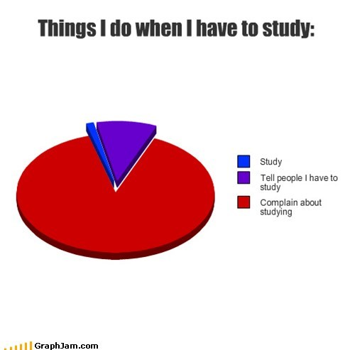 complaining,finals,Pie Chart,studying,truancy story