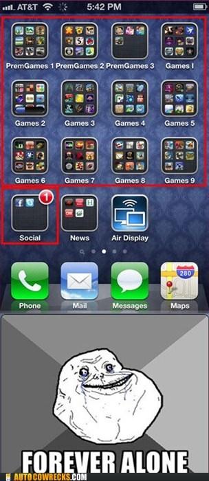 apps forever alone games meme social - 5570374912