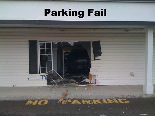 cars crash irony no parking parking
