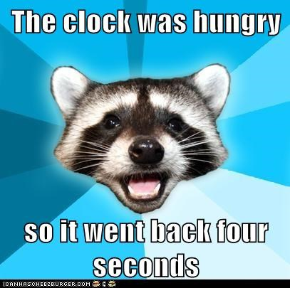 clocks,food,hungry,Lame Pun Coon,puns,raccoons,seconds