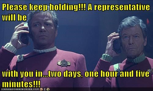 Captain Kirk DeForest Kelley McCoy on hold phone Shatnerday William Shatner - 5572118784