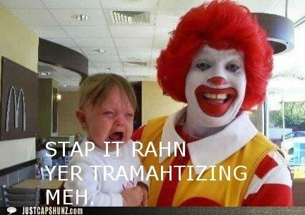 afraid child clown crying kid McDonald's Ronald McDonald traumatized