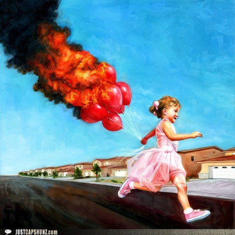 art,Balloons,balloons on fire,caption contest,child,kid,painting