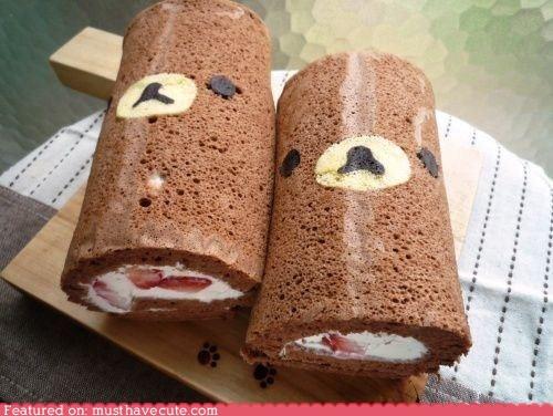 bear cake cream berries epicute face Rilakkuma rolls - 5572637184