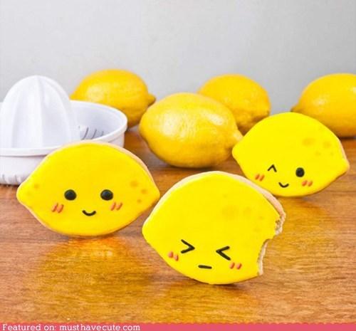 bite cookies epicute faces icing lemon smile yellow - 5572788736