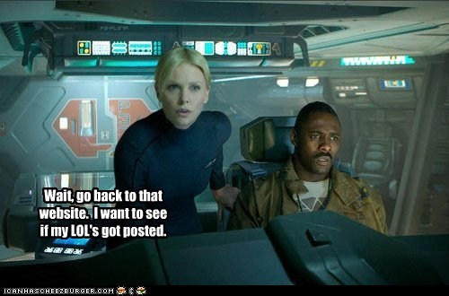 alien,Aliens,charleze theron,icanhascheezburger,lol,posted,prometheus,website