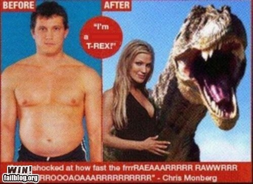 advertisement dinosaur Hall of Fame magazine transformation t rex work out