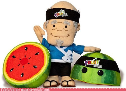 best of the week,fruit ninja,game,mascot,master,Plush,sensei,watermelon