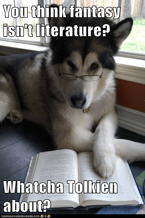 books Condescending Literary Pun Dog dogs fantasy literature puns reading tolkien - 5573066752