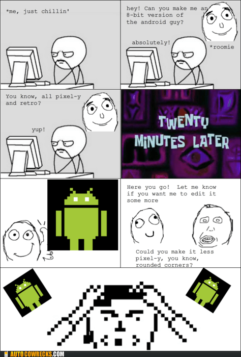 8 bit android pixels rage comic retro