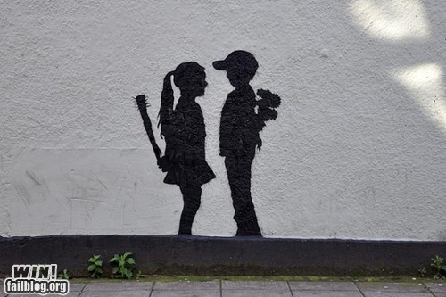 art,graffiti,hacked irl,relationships,silhouette,Street Art