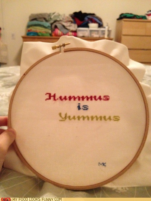 craft cross stitch DIY hummus yum