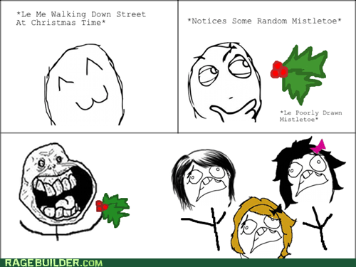 christmas,forever alone,mistletoe,Rage Comics