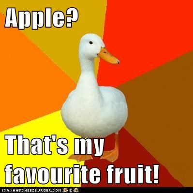 apples,birds,ducks,fruits,Technologically Impaired Duck,technology