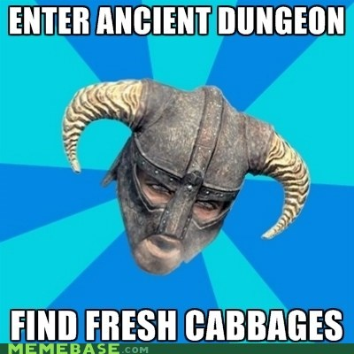 cabbages,dungeon,Memes,Skyrim,video games,wine