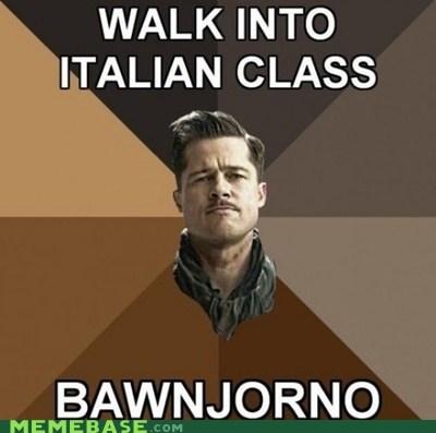 au revoir,best of week,bonjourno,brad pitt,inglorious,italian,Memes,quentin tarantino