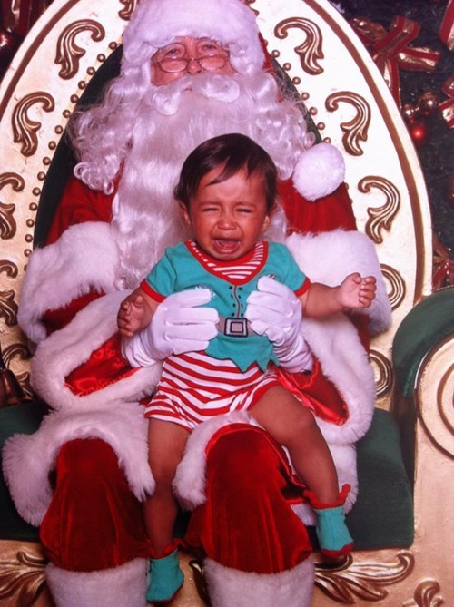 baby bored crying mall santa - 5575337728
