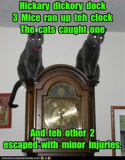 caption captioned cat Cats change clock different ending hickory dickory dock nursery rhyme story