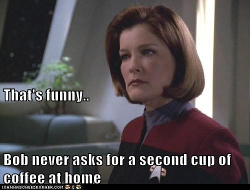 airplane,captain janeway,coffee,kate mulgrew,Star Trek,thats-funny