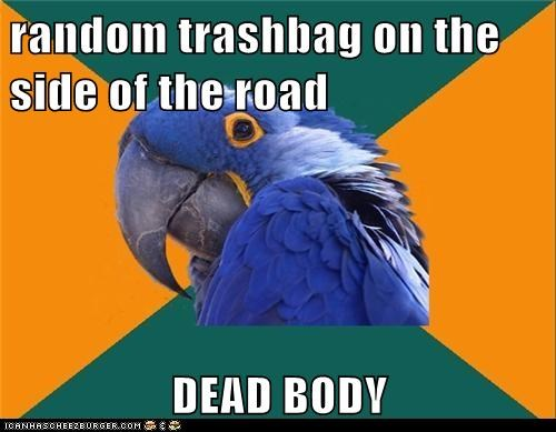birds bodies dead bodies Hall of Fame paranoid Paranoid Parrot parrots trash trash bags - 5576167936