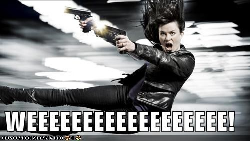 eve myles,fun,guns,Gwen Cooper,recoil,Torchwood,weeeeee